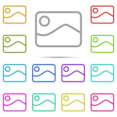 picture icon in multi color. Simple outline vector of web, minimalistic set for UI and UX, website or mobile application