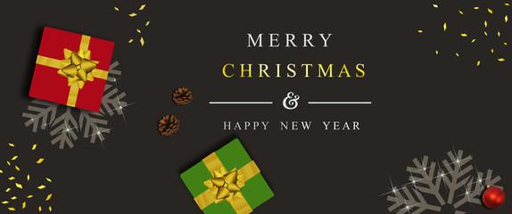 Weihnachtskarte, banner, hintergrunde und geschenke mit realistisch geschenk box, konfetti, weihnachtskugel und kiefernzapfe