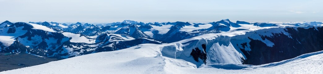 Panorama vew from Glittertind. Galdhøpiggen is seen to the right of the picture's centre, Hurrungane to the left. Jotunheimen, Norway.