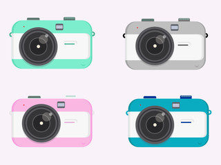 digital  retro old camera vector icons photography