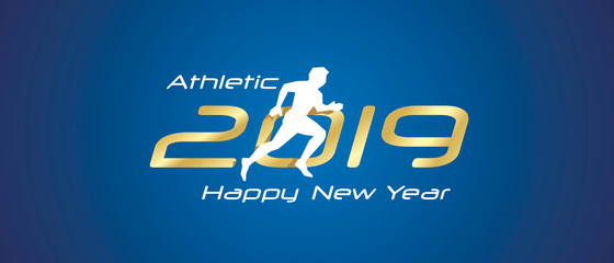 Athletic silhouette 2019 Happy New Year gold white logo icon blue background