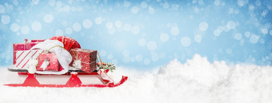 Christmas Santa Sleigh and Gifts Web Banner