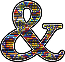 ampersand symbol with colorful dots abstract design with mexican huichol art style