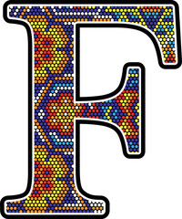 initial f with colorful dots abstract design with mexican huichol art style