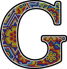 initial g with colorful dots abstract design with mexican huichol art style