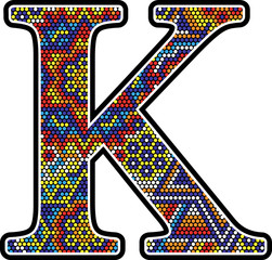 initial k with colorful dots abstract design with mexican huichol art style