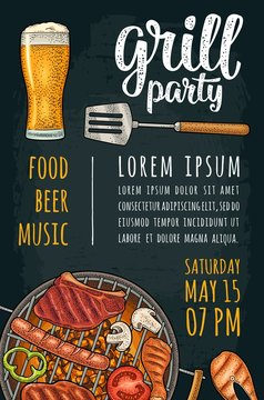 Vertical poster with bbq. Grill party calligraphic handwriting lettering.