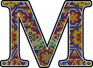 initial m with colorful dots abstract design with mexican huichol art style