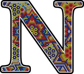 initial n with colorful dots abstract design with mexican huichol art style