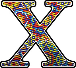 initial x with colorful dots abstract design with mexican huichol art style