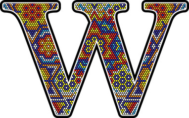 initial w with colorful dots abstract design with mexican huichol art style