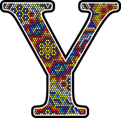 initial y with colorful dots abstract design with mexican huichol art style
