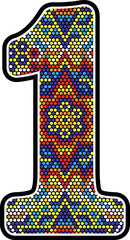 number 1 with colorful dots abstract design with mexican huichol art style isolated on white background