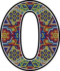 number 0 with colorful dots abstract design with mexican huichol art style