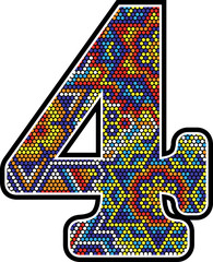 number 4 with colorful dots abstract design with mexican huichol art style isolated on white background
