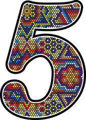 number 5 with colorful dots abstract design with mexican huichol art style isolated on white background
