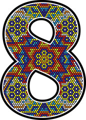number 8 with colorful dots abstract design with mexican huichol art style isolated on white background