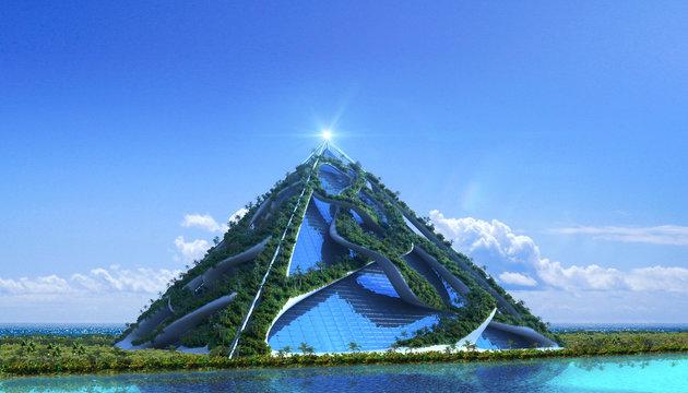 3D Futuristic green architecture