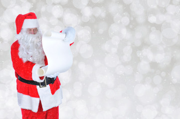Santa Claus with Naughty and Nice List Silver Bokeh Background