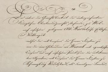 Antique unreadable calligraphic handwriting paper background