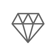 Simple diamond line icon. Symbol and sign illustration design. Isolated on white background