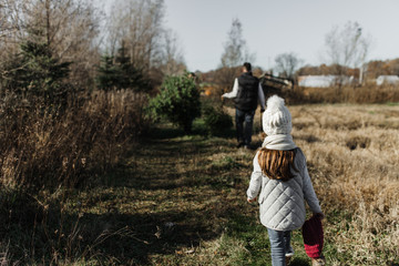 Girl walking behind father after cutting down Christmas tree from the woods