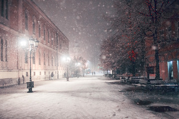 First snow in Novi Sad city at night Fotomurales