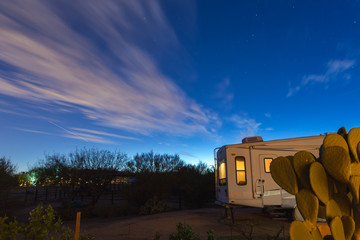 Night Sky Over RV Camper, Desert Camp Site, Desert Camping