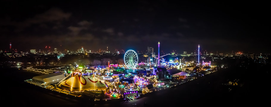Aerial view of Christmas funfair in Hyde park, London