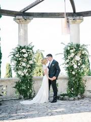 Amazing bridal couple on luxurious terrace
