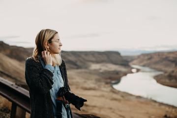 Portrait of Female Photographer Overlooking Idaho Landscape
