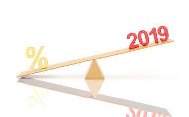 New Year 2019 with Percentage - 3D Rendered Image