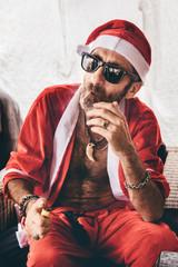 Santa sitting and smoking