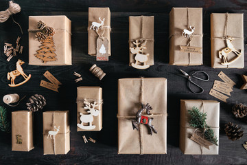 Handmade Christmas gifts on dark wooden table