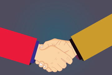 Design business concept Empty template copy space text for Ad website isolated. Hu analysis Shaking Hands on Agreement Greeting Gesture Sign of Respect Vector
