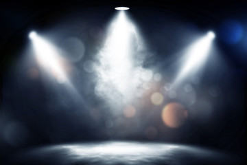 Poster Lumiere, Ombre spotlight smoke studio entertainment background.