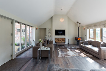 Living room in a converted barn.