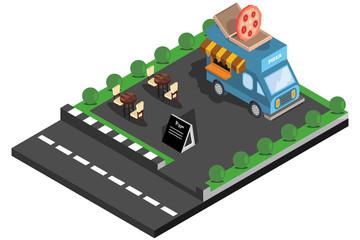 isometric illustration roadside food, vector illustration