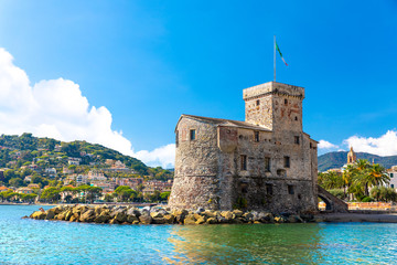 Foto auf Gartenposter Ligurien Beautiful view of coastline and picturesque seaside village Rapallo. Little harbor and houses.