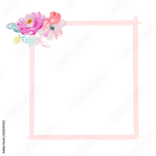 Watercolor Flower Frame Background Stock Photo And Royalty Free