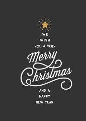 Merry Christmas Typography Card Tree