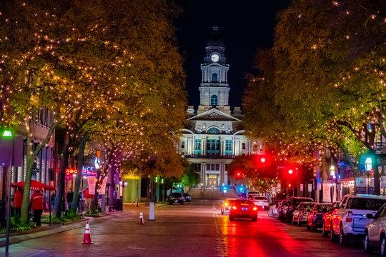 Main Street and Texas Street at Night Downtown Fort Worth, Texas, USA, Novemver 23,2018