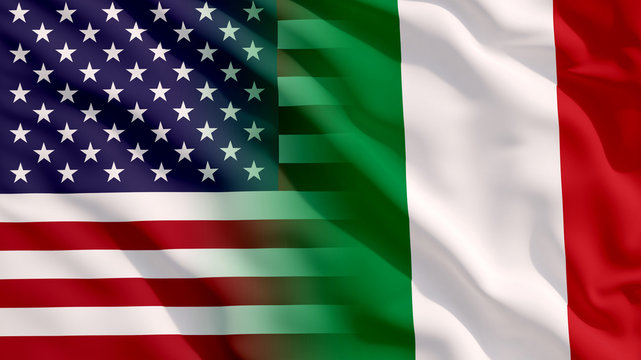 Waving USA and Italy Flags