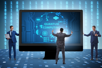 Concept of quantum computing with businessman