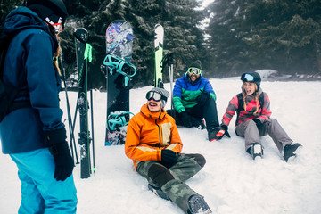 Friends Enjoying Skiing Vacation