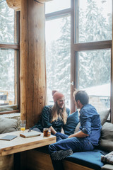 Couple Enjoying Winter Vacation in Mountain