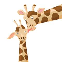 Giraffe vector illustration, Baby giraffe with mom, Mother child concept