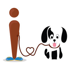 I love dog conceptual vector graphic, Man holding a dog on a leash abstract illustration.