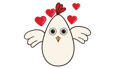 Vector cartoon illustration of cute hen with hearts. Isolated on white background.