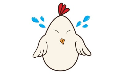 Vector cartoon illustration of cute hen crying. Isolated on white background.